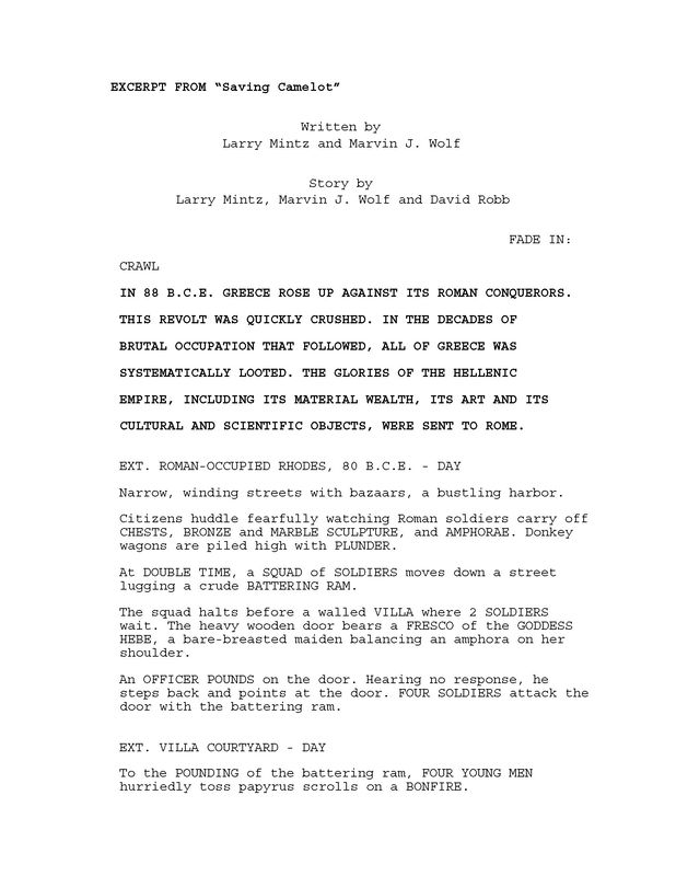 Excerpt from 'Saving Camelot' screenplay by Larry Mintz and Marvin J. Wolf. p. 1