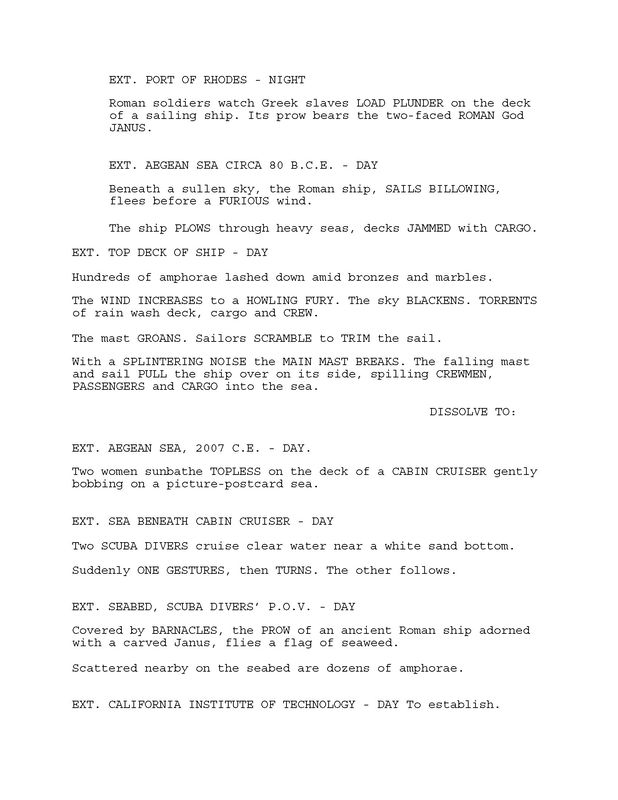 Excerpt from 'Saving Camelot' screenplay by Larry Mintz and Marvin J. Wolf. p. 3