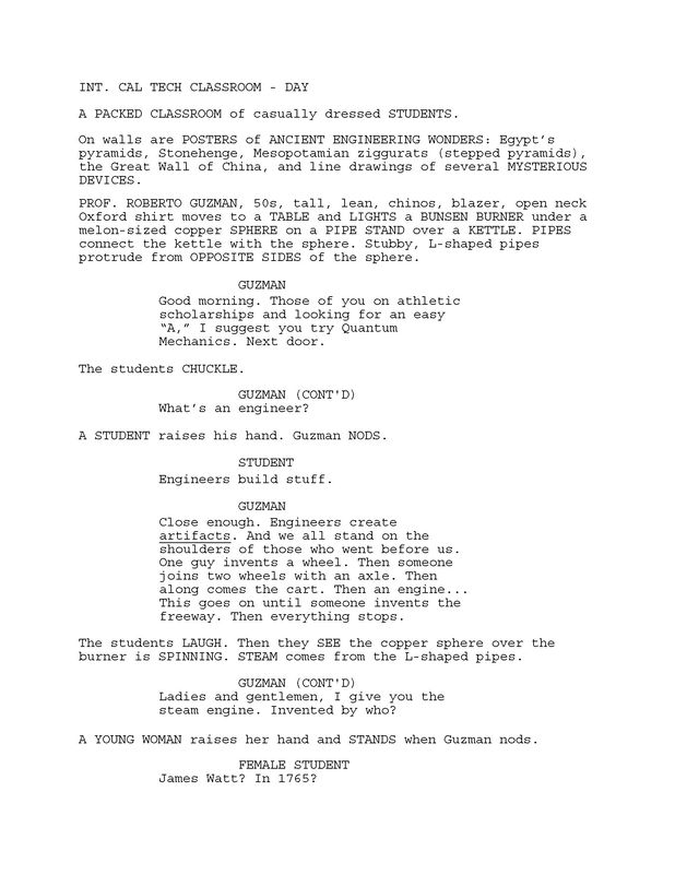 Excerpt from 'Saving Camelot' screenplay by Larry Mintz and Marvin J. Wolf. p. 4